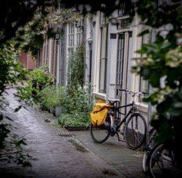 rower miejski oparty o ścianę